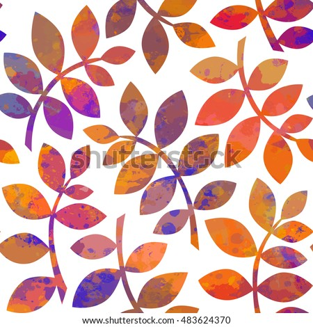 Watercolor Autumn Abstract Background. Seamless pattern with autumn leaves. Watercolor leaves. Seamless leaves. Autumn ornament. Vector nature illustration. EPS-10