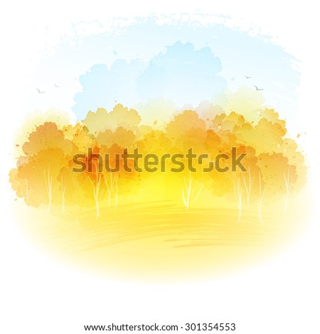 watercolor autumn landscape