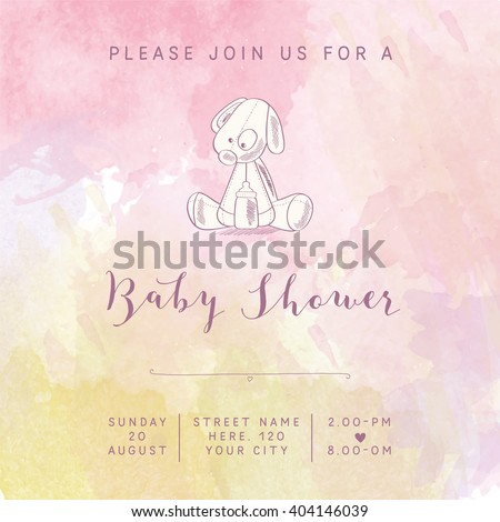 stock-vector-watercolor-baby-girl-shower-card-with-retro-toy-vector-illustration