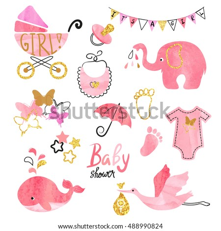watercolor baby shower girl set