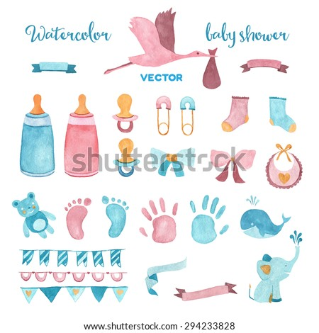 watercolor baby shower vector