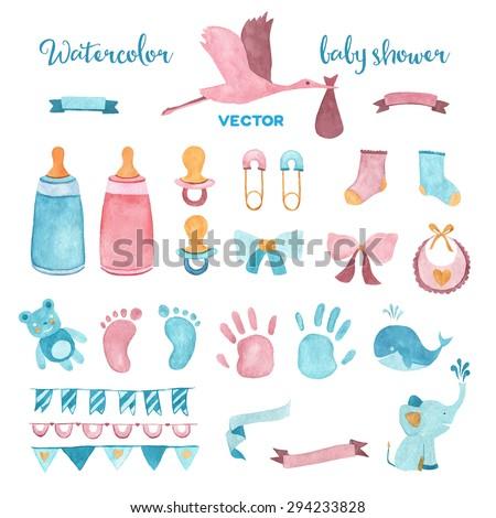 Watercolor baby shower vector set of design elements. - Shutterstock ID 294233828