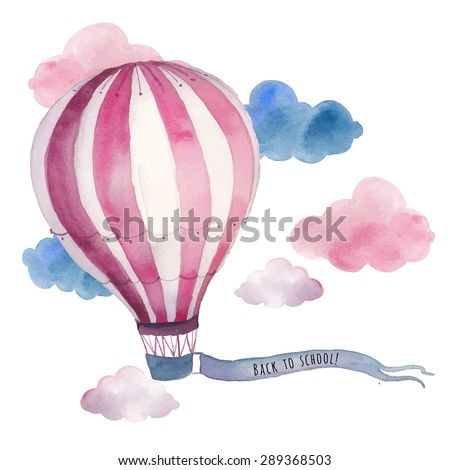 Watercolor back to school card with air balloon and clouds. Hand drawn vintage collage illustration with hot air balloon and banner in sky. Vector design