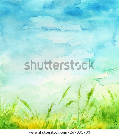watercolor background grass