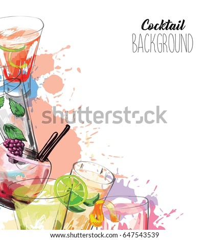 Watercolor background with alcohol drinks. Template design for menu, bar.