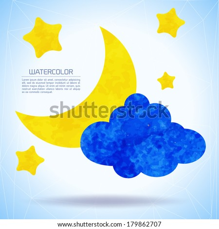 watercolor background with moon