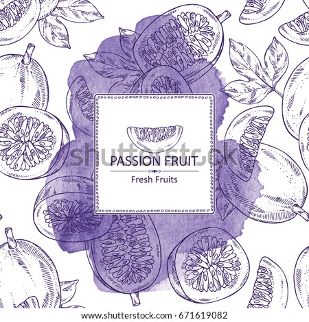 Watercolor background with passion fruit: fruit, passion slice and leaves. Vector hand drawn illustration. #671619082