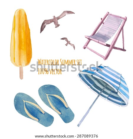 watercolor beach vacation set
