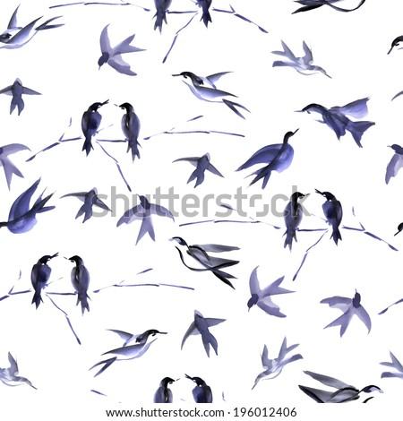 watercolor bird seamless