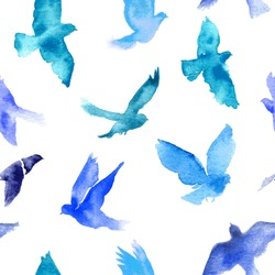 Watercolor birds seamless pattern.