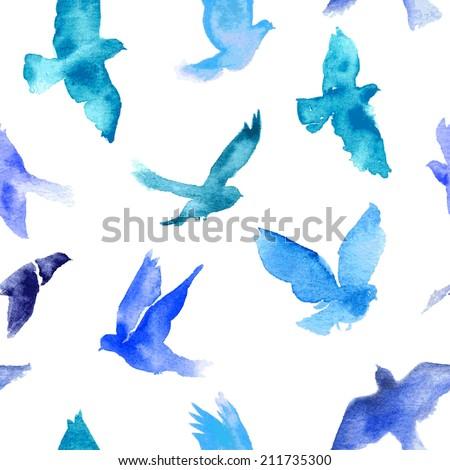 watercolor birds seamless...