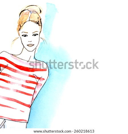 watercolor blond girl   vector