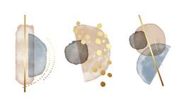 Watercolor Blue beige abstract shapes, gold splashes, boho design. Elegant contemporary bohemian design. Minimal graphics, home decor, branding, advertising