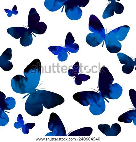 watercolor blue butterflies on