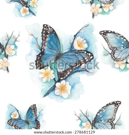 watercolor blue butterfly on