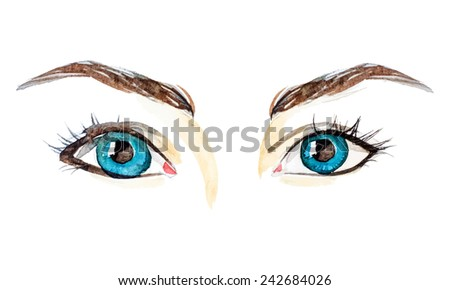 watercolor blue female eyes