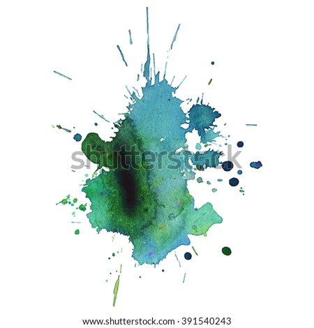 watercolor blue green  stain