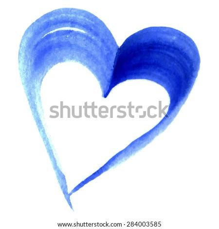 watercolor blue heart love