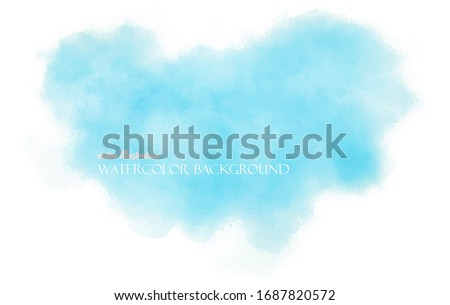 Watercolor blue pastel background. EPS8 backdrop with aquarelle effect. Vector illustration. Textured abstract sky with clouds. Paint splash on white paper. Ethereal template screen.