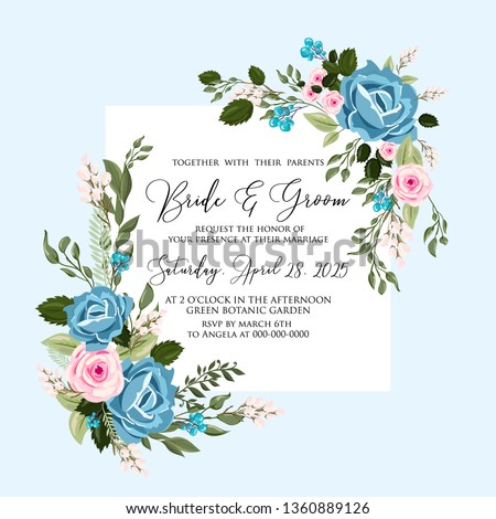 Watercolor blue rose wedding invitation vector floral template #1360889126