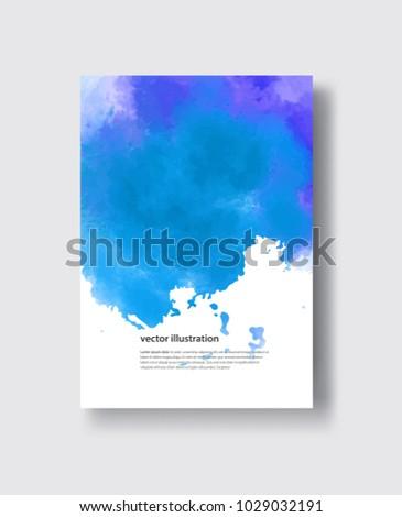 Watercolor blue sea color design banne. Vector illustration