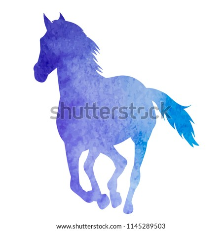 watercolor blue silhouette