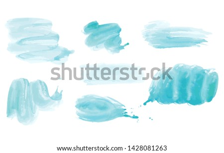 Watercolor. Blue vector abstract painted ink strokes set on watercolor paper. Ink strokes. Flat kind brush stroke.