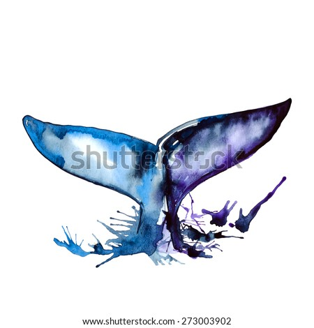 watercolor blue whale tail