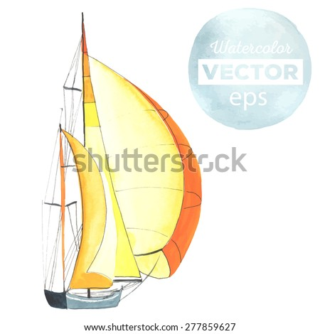 watercolor boat with sails made