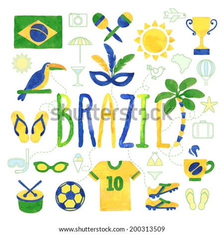 watercolor brazil icons   vector