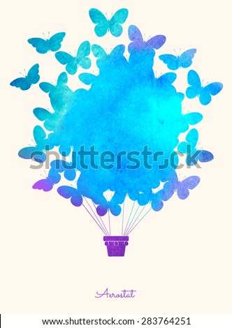 watercolor butterfly hot air