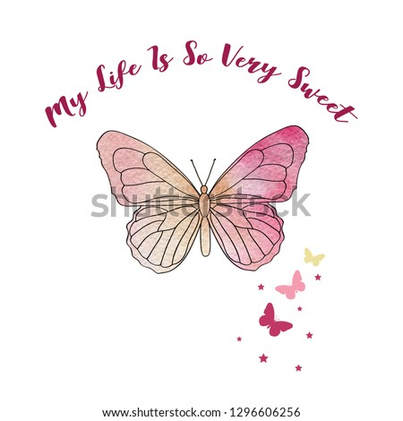 watercolor butterfly text girl tee illustration art vector