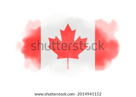Watercolor Canada flag background. Vector.