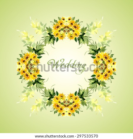 Watercolor card with flowers sunflower. Can be used for banner, cards, wedding invitations, etc. Vector illustration