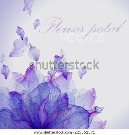 Watercolor card with Purple flower petal. Vectorized watercolor drawing.