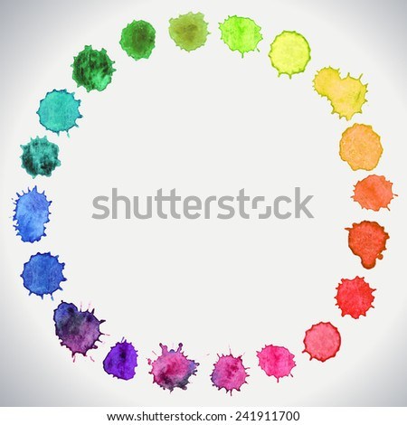 watercolor circle hand paint