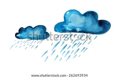 watercolor clouds rain vector