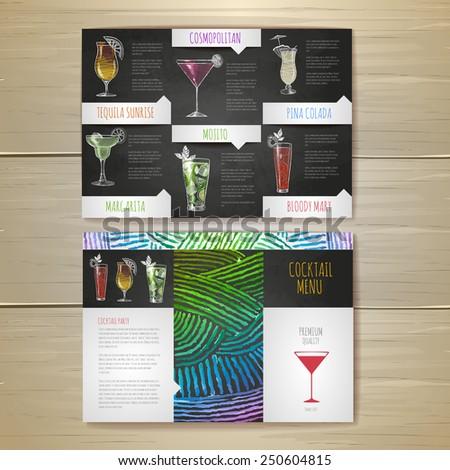Watercolor Cocktail concept design. Corporate identity. Document template
