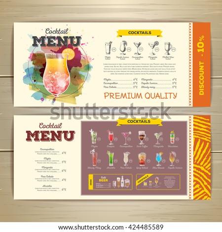 watercolor cocktail menu design