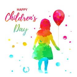 Watercolor color girl silhouette with child with balloon on white background, holiday clipart. International children's day greeting card. Vector illustration baby, daughter, girl in a fluffy skirt.