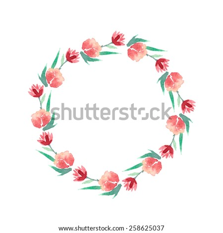 Watercolor colorful circular floral wreath with summer flowers and central white copy space for your text. Vector Illustration