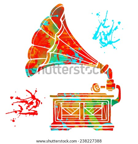watercolor colorful gramophone
