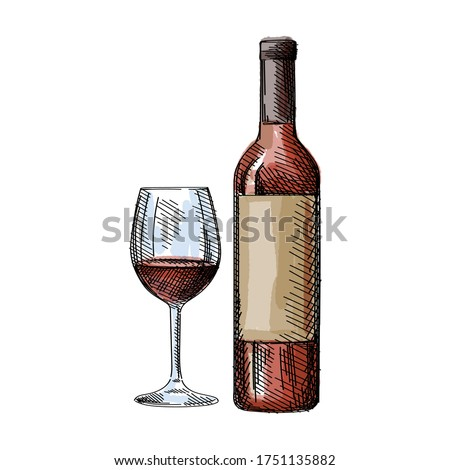 Watercolor colorful Hand-drawn sketch of a red bottle of whine with a glass of wine on a white background. Bottle of red, white, pink wine. Wine glass. Bottle of wine for a picnic