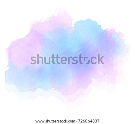 Watercolor colorful paper texture brush paint vector isolated liquid splash on white background for art design, tag. Aquarelle abstract blur blob drip hand drawn stain element for frame, card, label