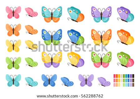 Watercolor colors butterflies isolated on white background. Pretty vector butterfly set with spring palette for child.