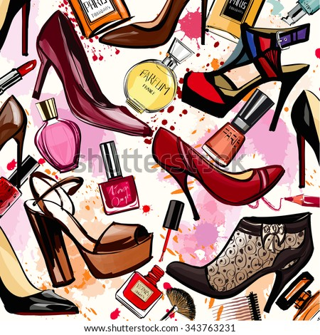 watercolor cosmetics and shoes