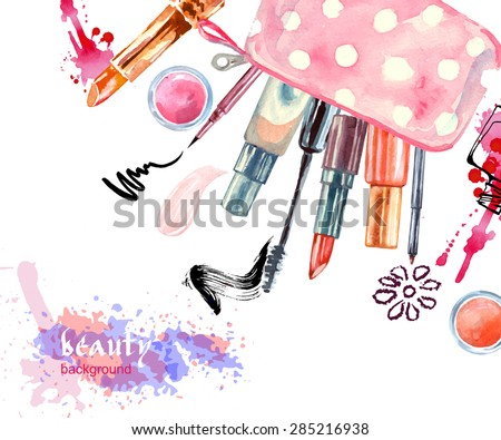 stock-vector-watercolor-cosmetics-background-with-cosmetic-bag-and-make-up-artist-objects-lipstick-eye