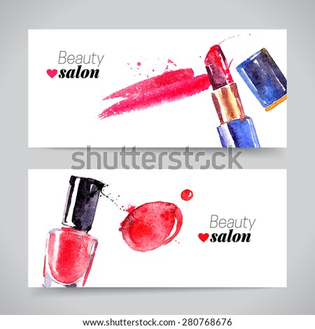 watercolor cosmetics banner set
