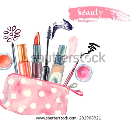 Stock Photo Watercolor cosmetics pattern. with  cosmetic bag and  make up artist objects: lipstick, eye shadows, eyeliner, concealer, nail polish. Vector illustration.