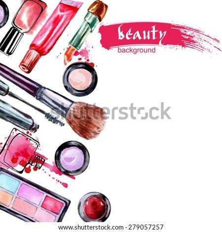 watercolor cosmetics pattern